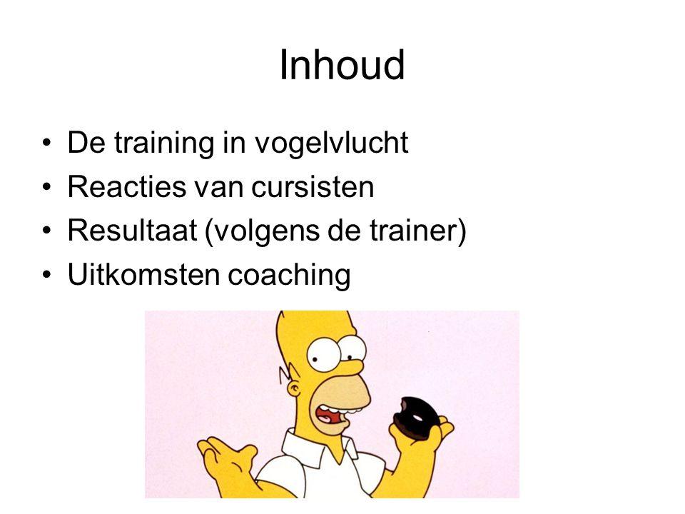 Inhoud De training in vogelvlucht Reacties van cursisten Resultaat (volgens de trainer) Uitkomsten coaching
