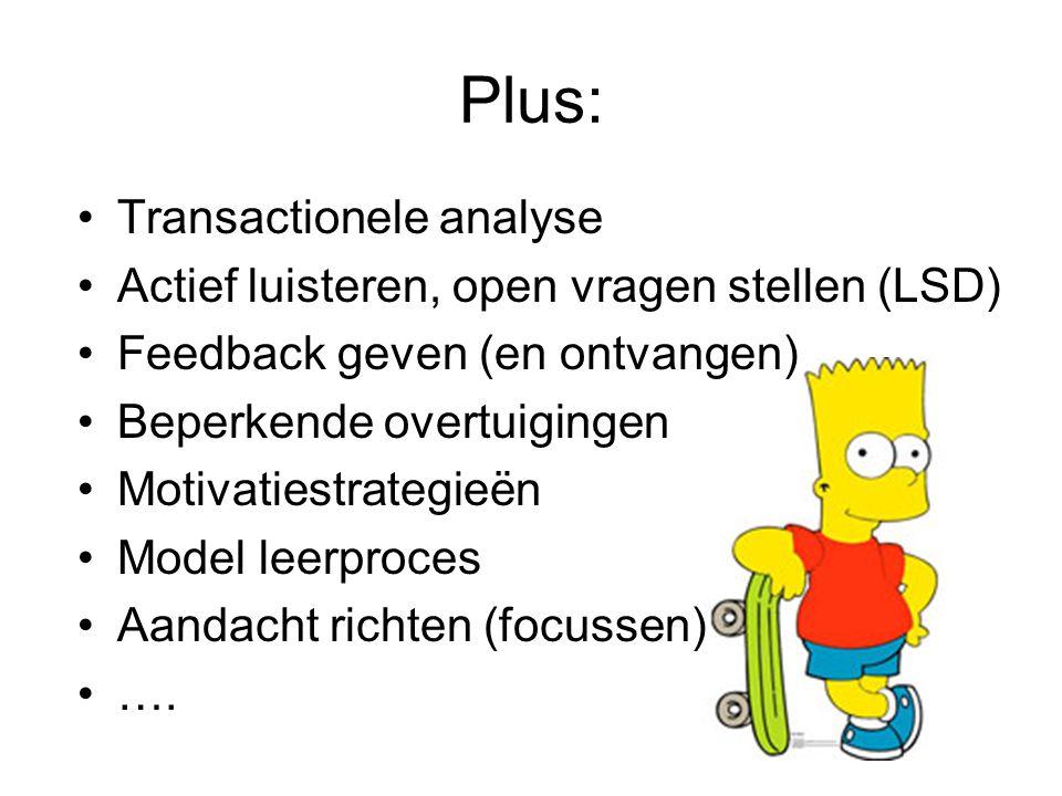 Plus: Transactionele analyse Actief luisteren, open vragen stellen (LSD) Feedback geven (en ontvangen) Beperkende overtuigingen Motivatiestrategieën Model leerproces Aandacht richten (focussen) ….