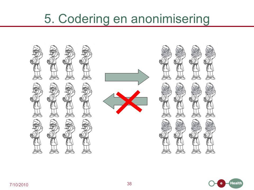 38 7/10/2010 5. Codering en anonimisering