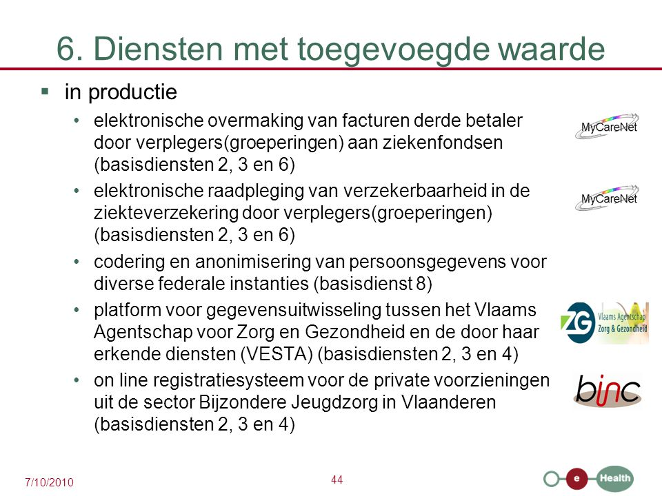 44 7/10/2010 6. Diensten met toegevoegde waarde  in productie elektronische overmaking van facturen derde betaler door verplegers(groeperingen) aan z
