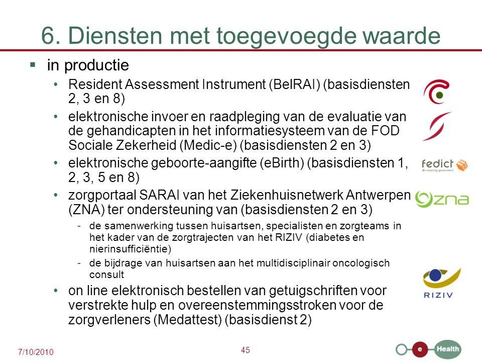 45 7/10/2010 6. Diensten met toegevoegde waarde  in productie Resident Assessment Instrument (BelRAI) (basisdiensten 2, 3 en 8) elektronische invoer