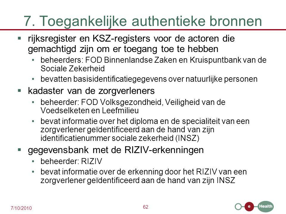 62 7/10/2010 7. Toegankelijke authentieke bronnen  rijksregister en KSZ-registers voor de actoren die gemachtigd zijn om er toegang toe te hebben beh