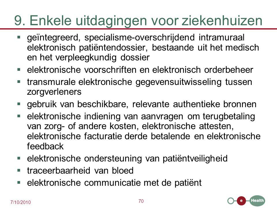 70 7/10/2010 9. Enkele uitdagingen voor ziekenhuizen  geïntegreerd, specialisme-overschrijdend intramuraal elektronisch patiëntendossier, bestaande u