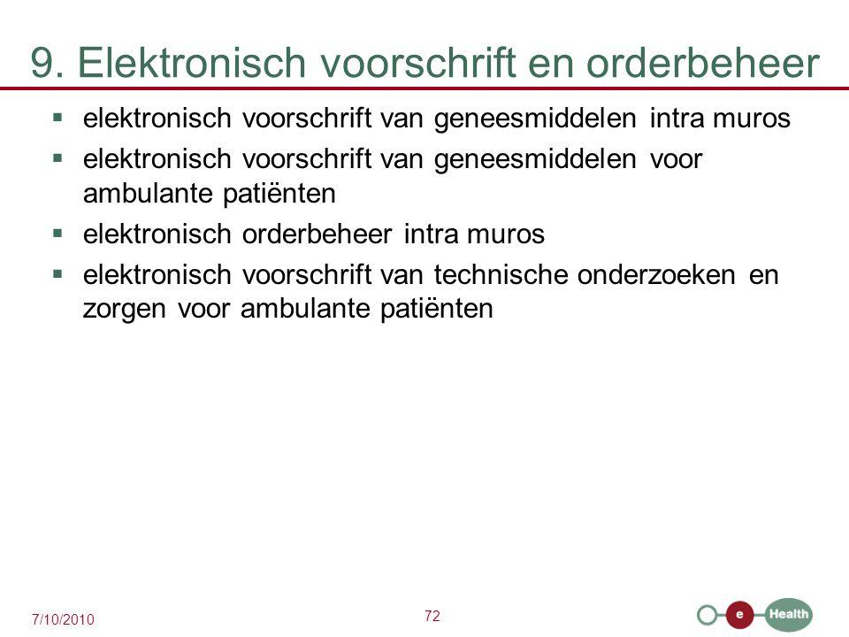 72 7/10/2010 9. Elektronisch voorschrift en orderbeheer  elektronisch voorschrift van geneesmiddelen intra muros  elektronisch voorschrift van genee