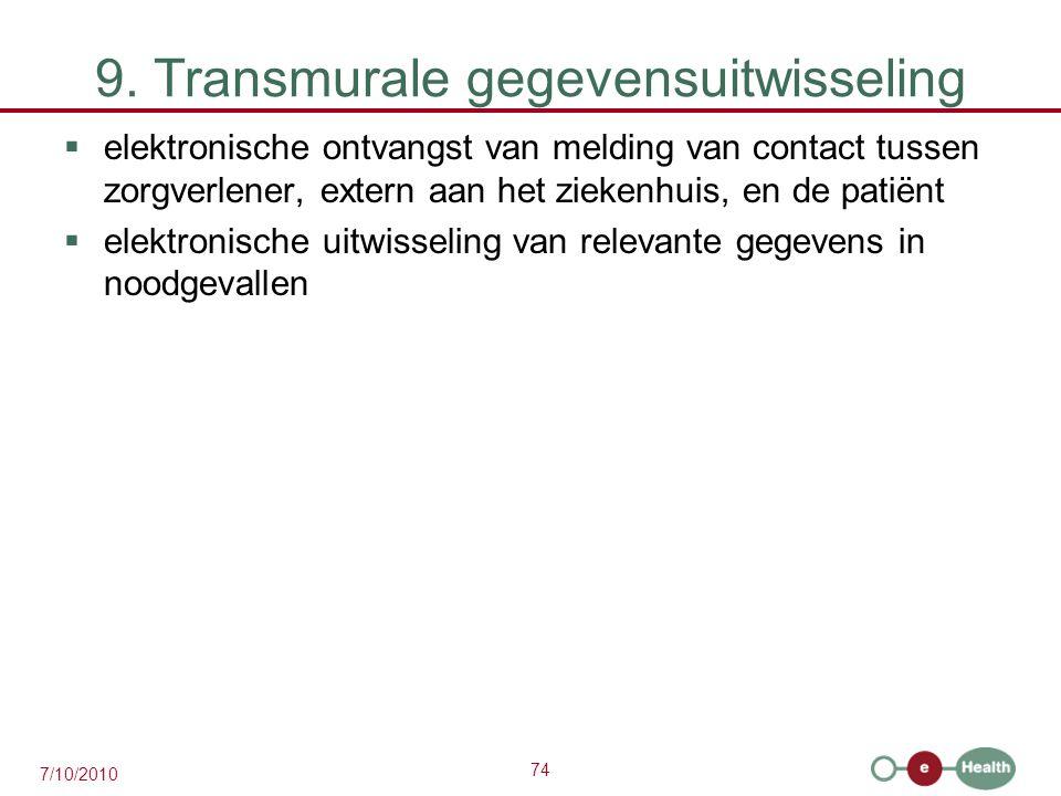 74 7/10/2010 9. Transmurale gegevensuitwisseling  elektronische ontvangst van melding van contact tussen zorgverlener, extern aan het ziekenhuis, en