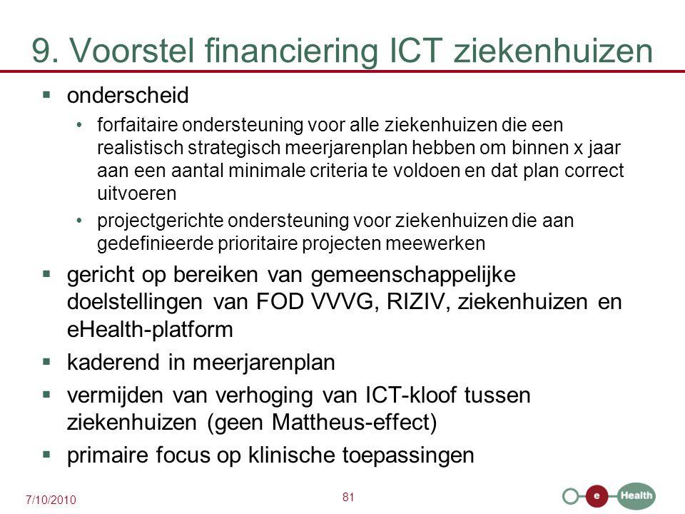 81 7/10/2010 9. Voorstel financiering ICT ziekenhuizen  onderscheid forfaitaire ondersteuning voor alle ziekenhuizen die een realistisch strategisch