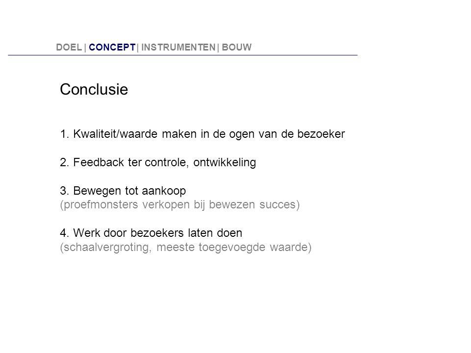 Conclusie 1. Kwaliteit/waarde maken in de ogen van de bezoeker 2. Feedback ter controle, ontwikkeling 3. Bewegen tot aankoop (proefmonsters verkopen b