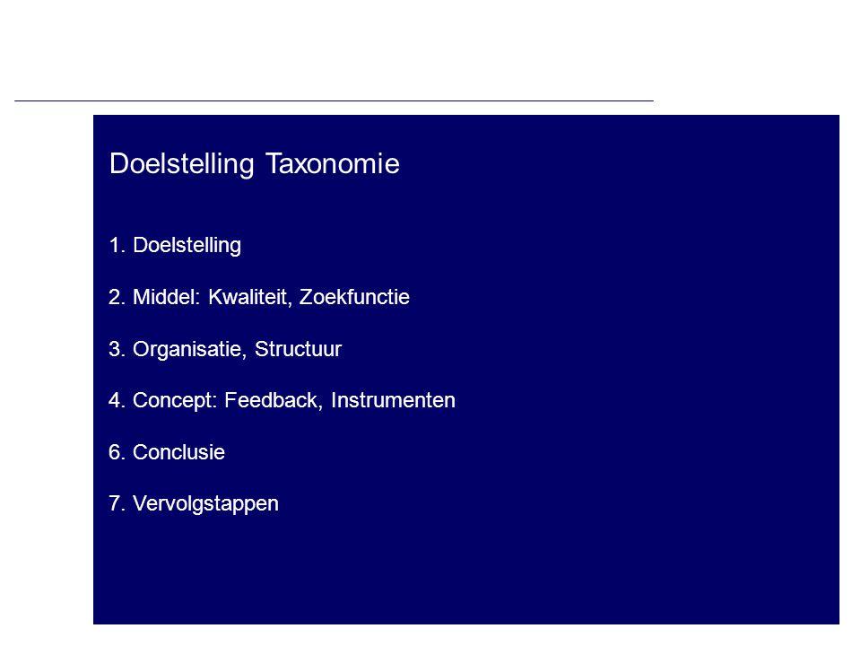 Doelstelling Taxonomie 1. Doelstelling 2. Middel: Kwaliteit, Zoekfunctie 3. Organisatie, Structuur 4. Concept: Feedback, Instrumenten 6. Conclusie 7.
