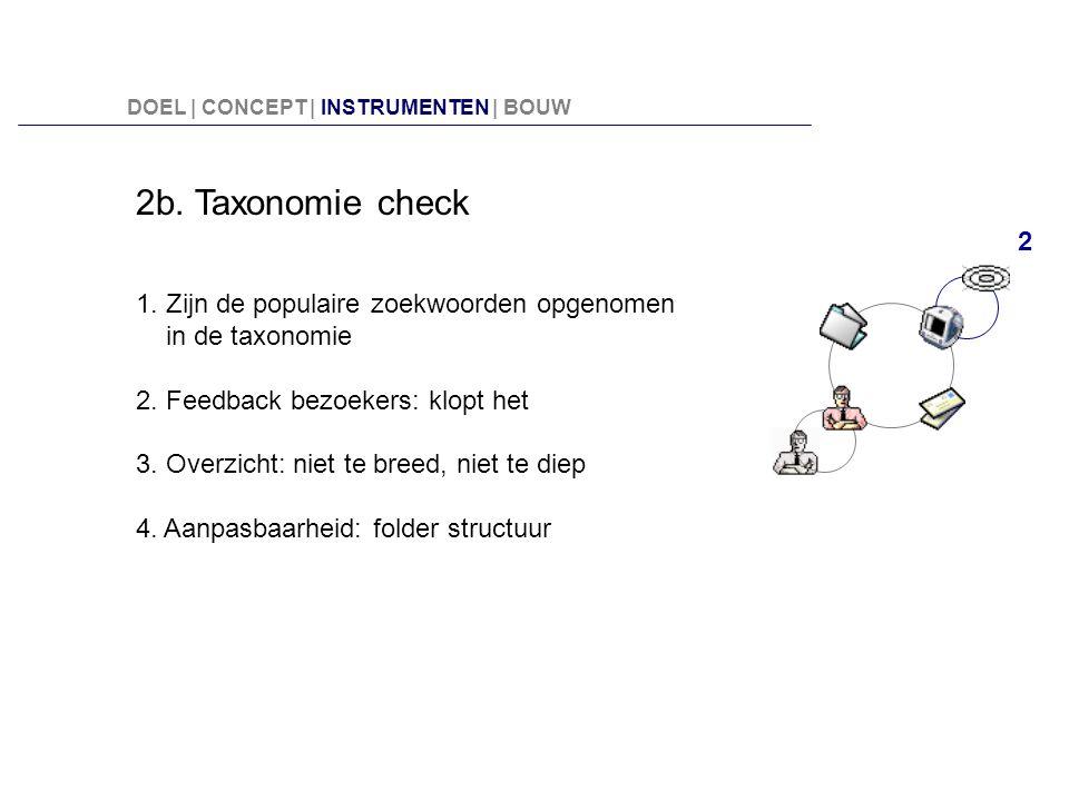 2b. Taxonomie check 1. Zijn de populaire zoekwoorden opgenomen in de taxonomie 2. Feedback bezoekers: klopt het 3. Overzicht: niet te breed, niet te d