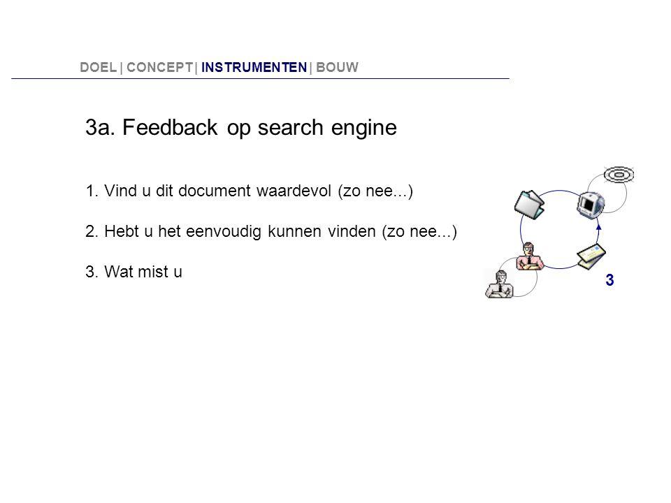 3a. Feedback op search engine 1. Vind u dit document waardevol (zo nee...) 2. Hebt u het eenvoudig kunnen vinden (zo nee...) 3. Wat mist u 3 DOEL | CO