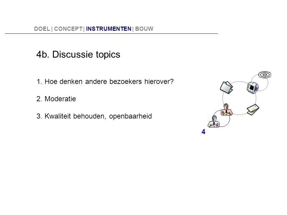 4b. Discussie topics 1. Hoe denken andere bezoekers hierover? 2. Moderatie 3. Kwaliteit behouden, openbaarheid 4 DOEL | CONCEPT | INSTRUMENTEN | BOUW