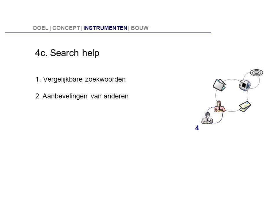 4c. Search help 1. Vergelijkbare zoekwoorden 2. Aanbevelingen van anderen 4 DOEL | CONCEPT | INSTRUMENTEN | BOUW