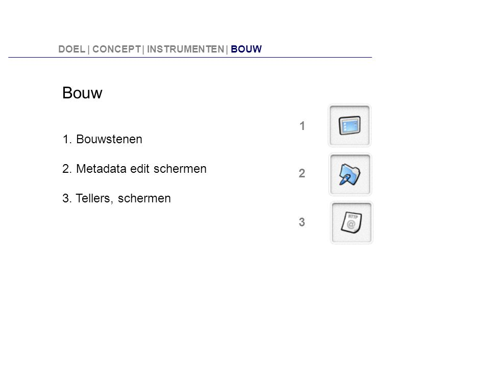 Bouw 1. Bouwstenen 2. Metadata edit schermen 3. Tellers, schermen 2 1 3 DOEL | CONCEPT | INSTRUMENTEN | BOUW