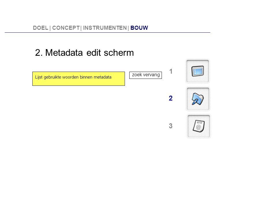 2. Metadata edit scherm Lijst gebruikte woorden binnen metadata zoek vervang 2 1 3 DOEL | CONCEPT | INSTRUMENTEN | BOUW
