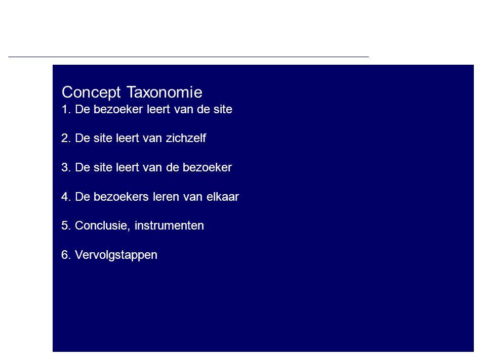 Concept Taxonomie 1. De bezoeker leert van de site 2. De site leert van zichzelf 3. De site leert van de bezoeker 4. De bezoekers leren van elkaar 5.