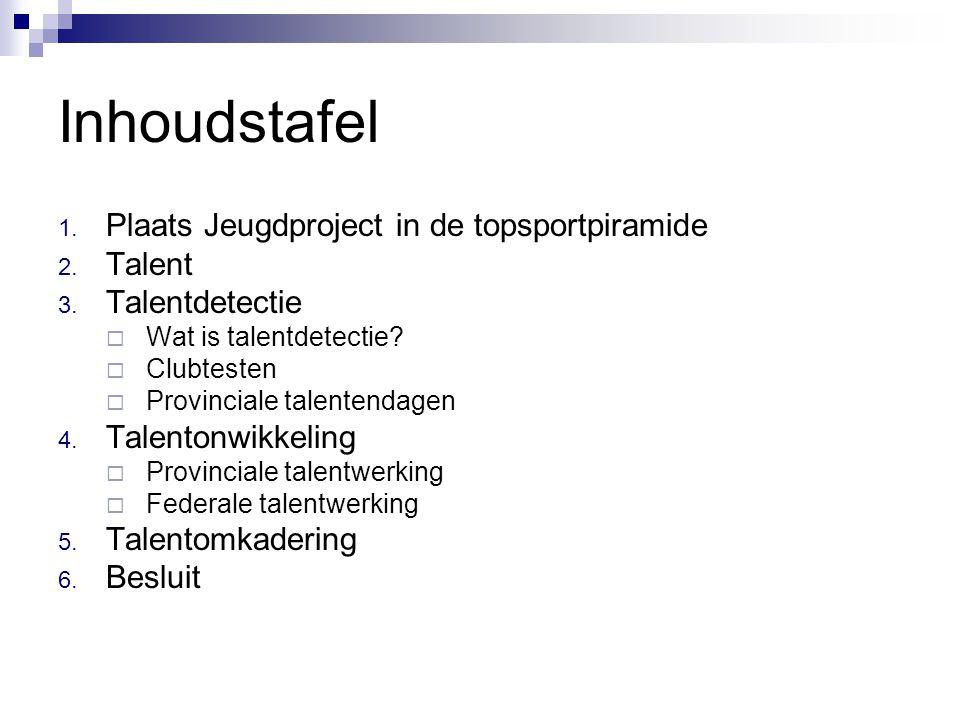 Inhoudstafel 1. Plaats Jeugdproject in de topsportpiramide 2. Talent 3. Talentdetectie  Wat is talentdetectie?  Clubtesten  Provinciale talentendag