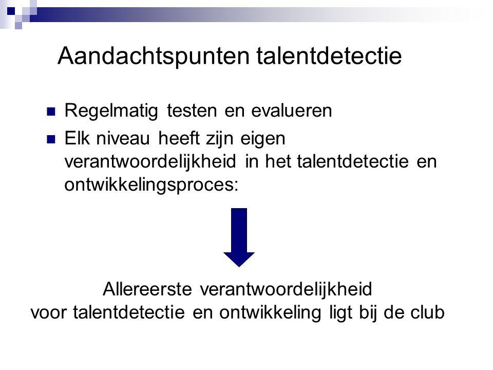 Regelmatig testen en evalueren Elk niveau heeft zijn eigen verantwoordelijkheid in het talentdetectie en ontwikkelingsproces: Aandachtspunten talentde
