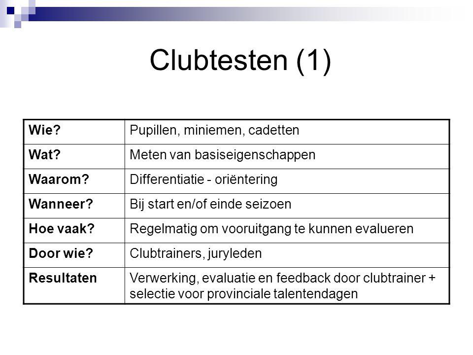 Clubtesten (1) Wie?Pupillen, miniemen, cadetten Wat?Meten van basiseigenschappen Waarom?Differentiatie - oriëntering Wanneer?Bij start en/of einde sei