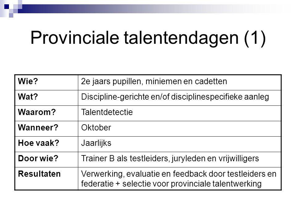 Provinciale talentendagen (1) Wie?2e jaars pupillen, miniemen en cadetten Wat?Discipline-gerichte en/of disciplinespecifieke aanleg Waarom?Talentdetec