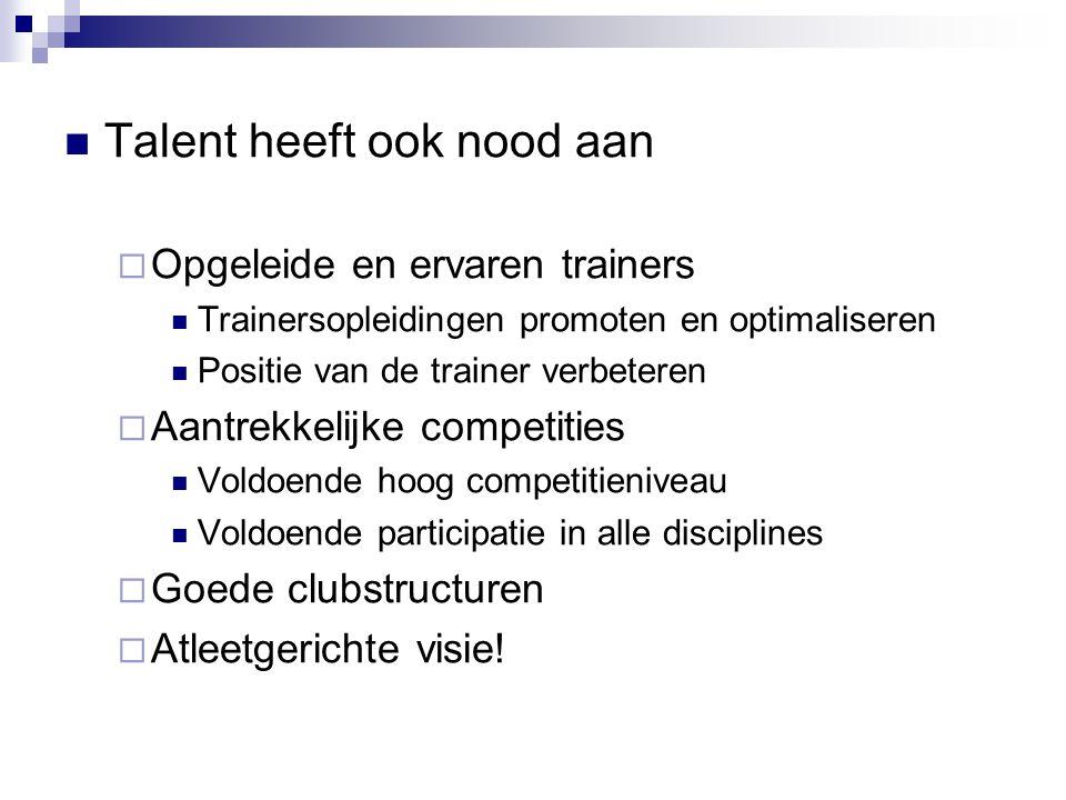 Talent heeft ook nood aan  Opgeleide en ervaren trainers Trainersopleidingen promoten en optimaliseren Positie van de trainer verbeteren  Aantrekkel