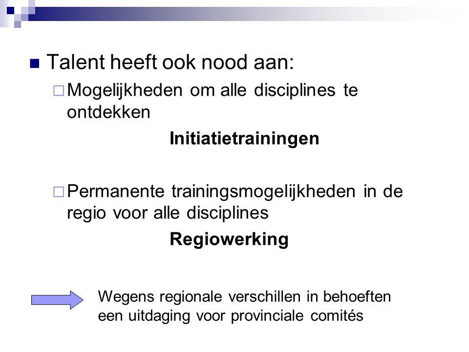 Talent heeft ook nood aan:  Mogelijkheden om alle disciplines te ontdekken Initiatietrainingen  Permanente trainingsmogelijkheden in de regio voor a