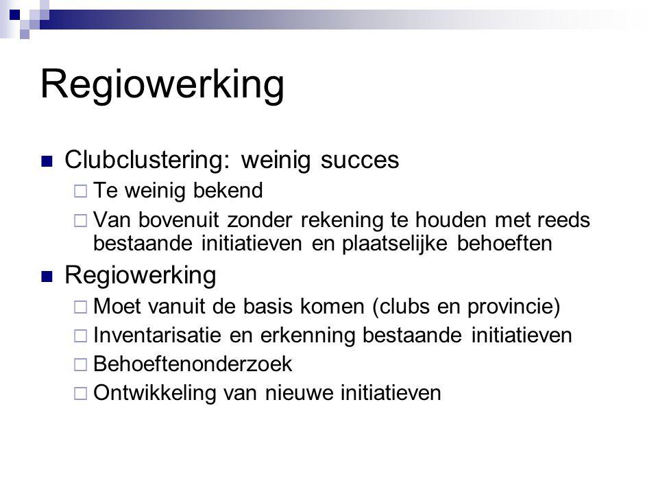 Regiowerking Clubclustering: weinig succes  Te weinig bekend  Van bovenuit zonder rekening te houden met reeds bestaande initiatieven en plaatselijk