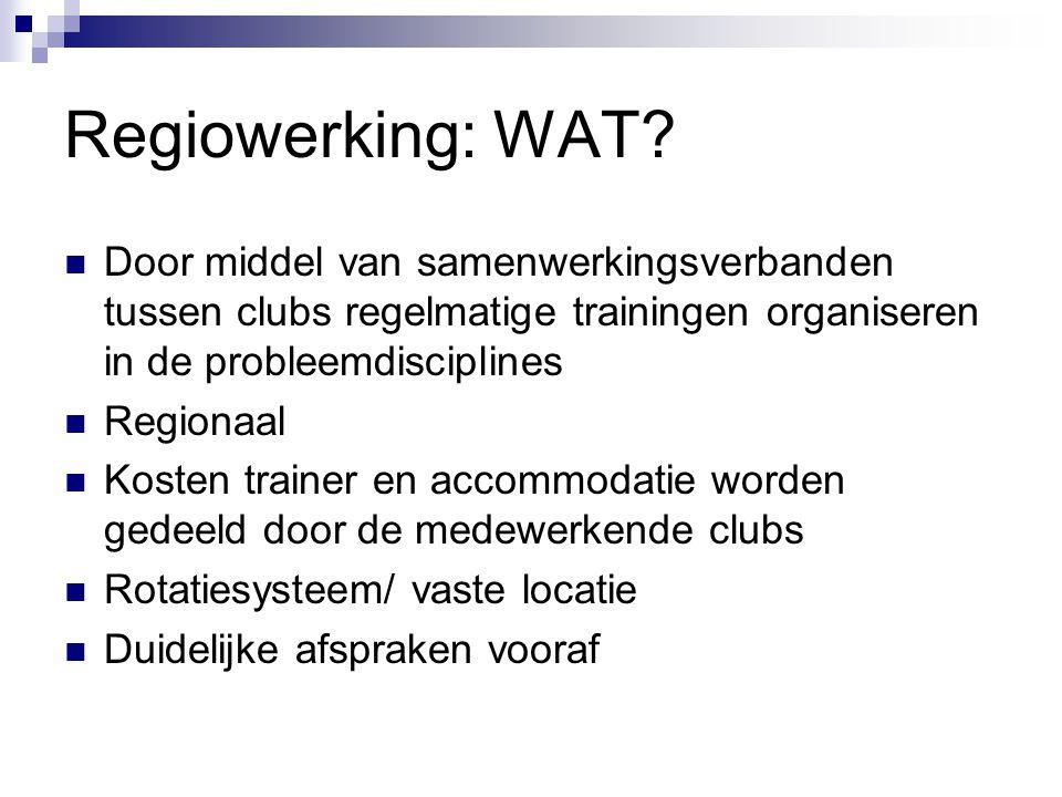 Regiowerking: WAT? Door middel van samenwerkingsverbanden tussen clubs regelmatige trainingen organiseren in de probleemdisciplines Regionaal Kosten t