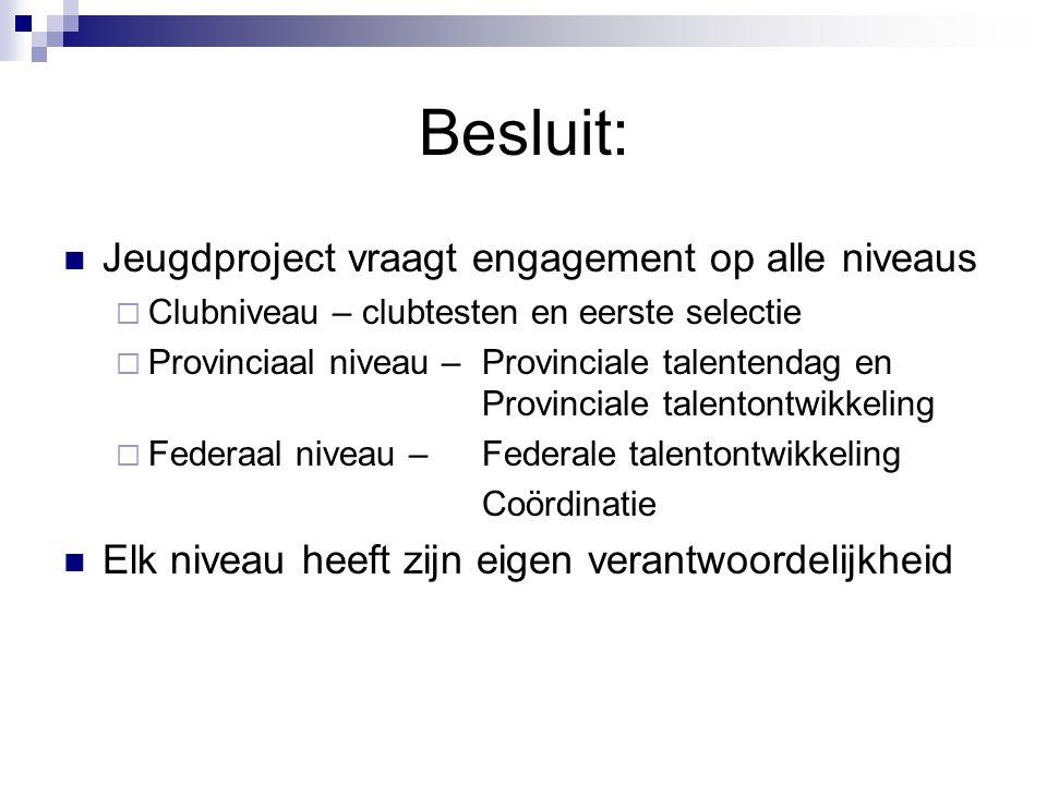 Besluit: Jeugdproject vraagt engagement op alle niveaus  Clubniveau – clubtesten en eerste selectie  Provinciaal niveau – Provinciale talentendag en