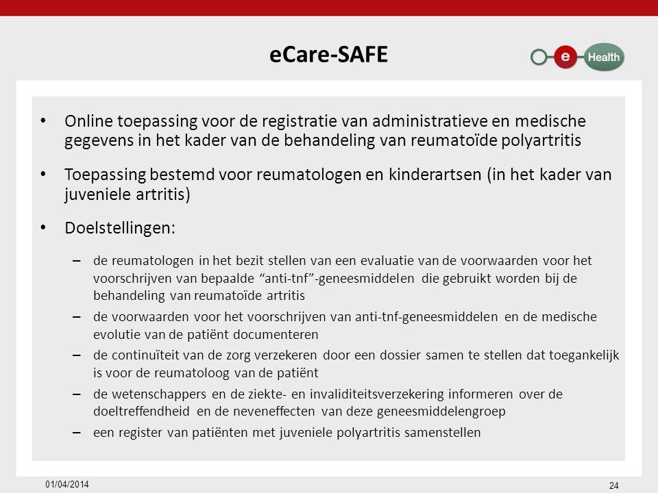 eCare-SAFE Online toepassing voor de registratie van administratieve en medische gegevens in het kader van de behandeling van reumatoïde polyartritis