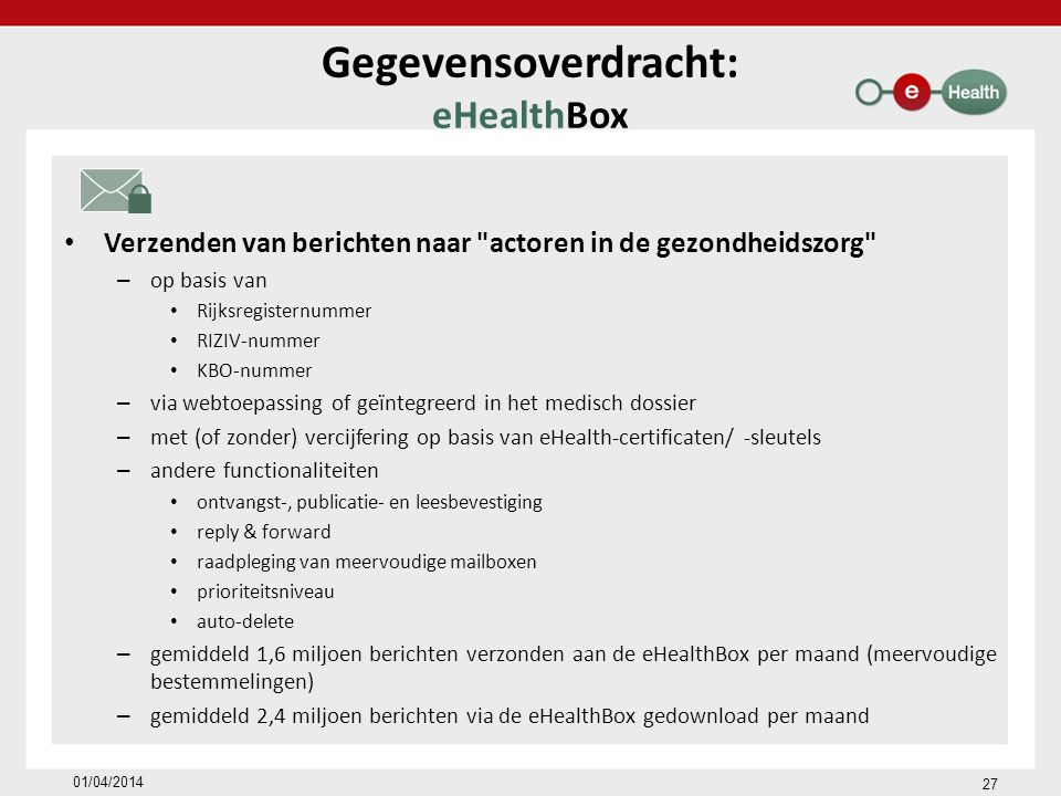 Gegevensoverdracht: eHealthBox Verzenden van berichten naar