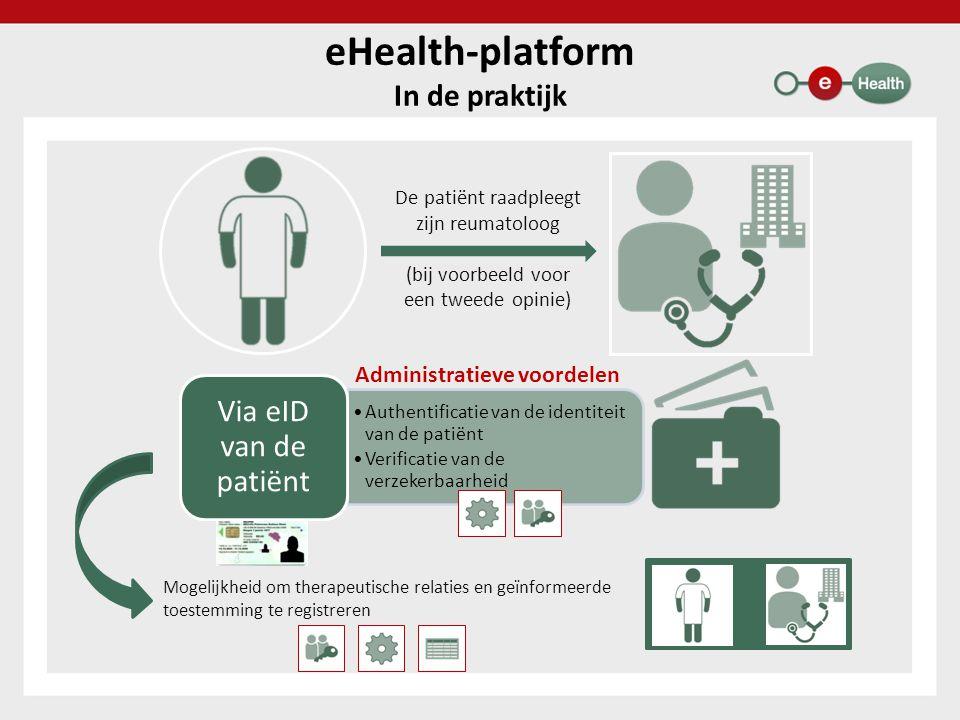 eHealth-platform In de praktijk De patiënt raadpleegt zijn reumatoloog (bij voorbeeld voor een tweede opinie) Administratieve voordelen Mogelijkheid o