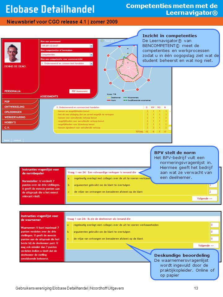 Gebruikersvereniging Elobase Detailhandel   Noordhoff Uitgevers13 Nieuwsbrief voor CGO release 4.1   zomer 2009 Competenties meten met de Leernavigato