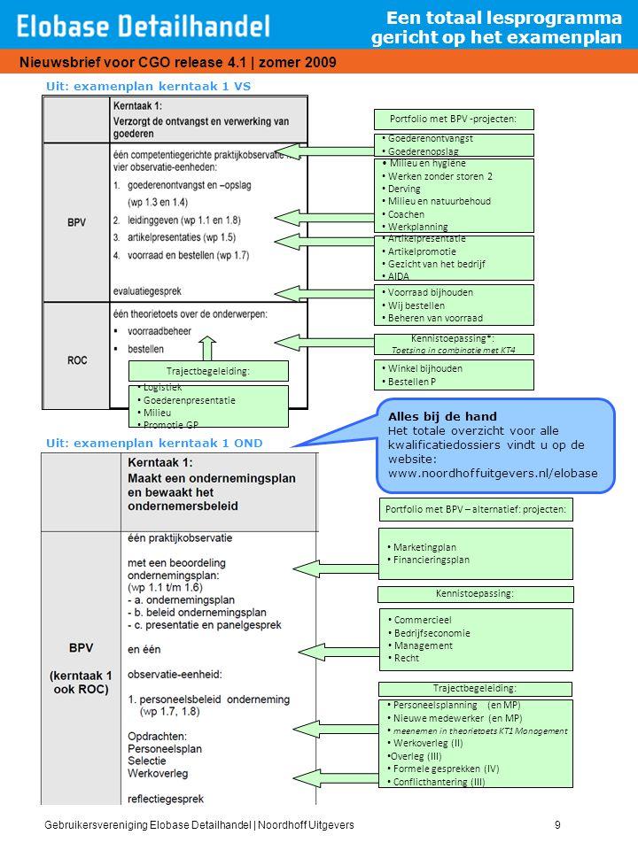 Gebruikersvereniging Elobase Detailhandel   Noordhoff Uitgevers9 Nieuwsbrief voor CGO release 4.1   zomer 2009 Een totaal lesprogramma gericht op het