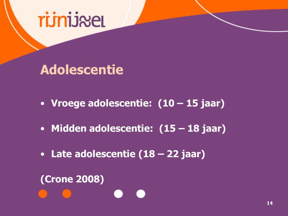 14 Adolescentie Vroege adolescentie: (10 – 15 jaar) Midden adolescentie: (15 – 18 jaar) Late adolescentie (18 – 22 jaar) (Crone 2008)