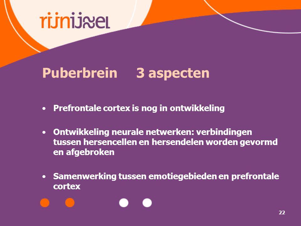 22 Puberbrein 3 aspecten Prefrontale cortex is nog in ontwikkeling Ontwikkeling neurale netwerken: verbindingen tussen hersencellen en hersendelen wor