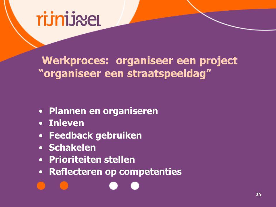 25 Werkproces: organiseer een project organiseer een straatspeeldag Plannen en organiseren Inleven Feedback gebruiken Schakelen Prioriteiten stellen Reflecteren op competenties