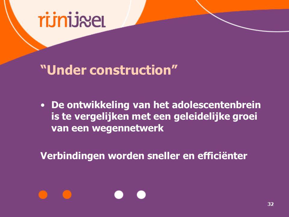 32 Under construction De ontwikkeling van het adolescentenbrein is te vergelijken met een geleidelijke groei van een wegennetwerk Verbindingen worden sneller en efficiënter