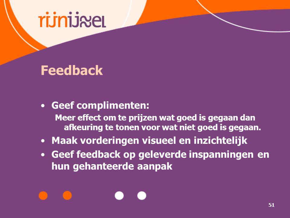 51 Feedback Geef complimenten: Meer effect om te prijzen wat goed is gegaan dan afkeuring te tonen voor wat niet goed is gegaan. Maak vorderingen visu