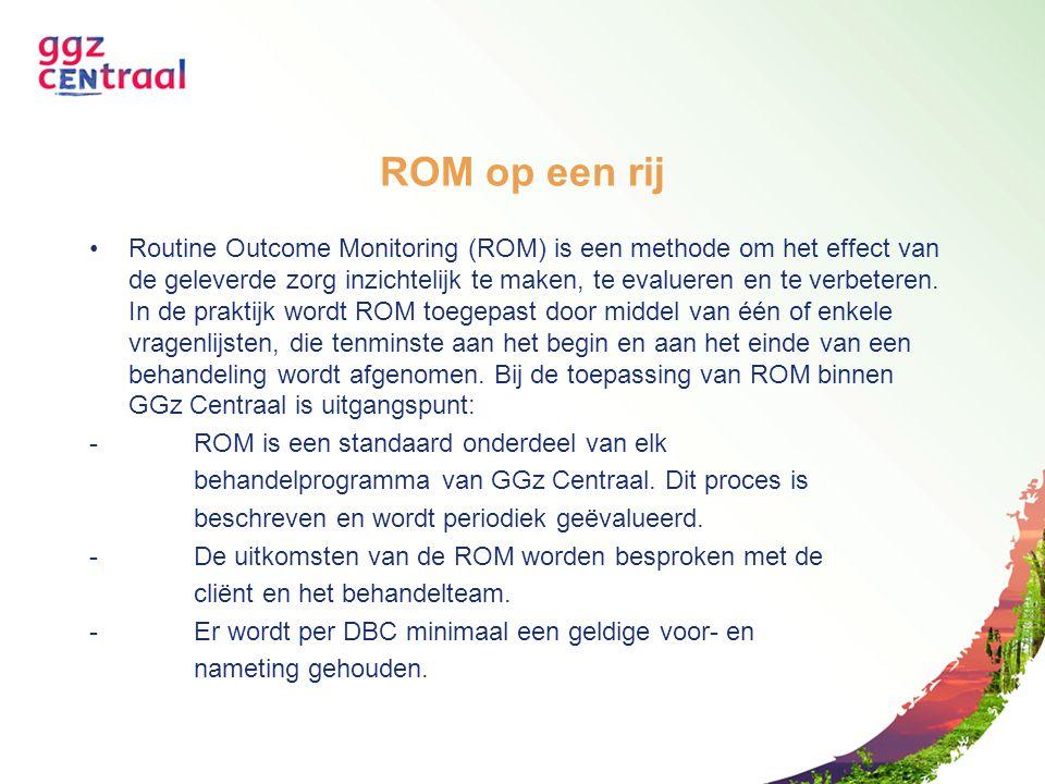 ROM op een rij Routine Outcome Monitoring (ROM) is een methode om het effect van de geleverde zorg inzichtelijk te maken, te evalueren en te verbetere