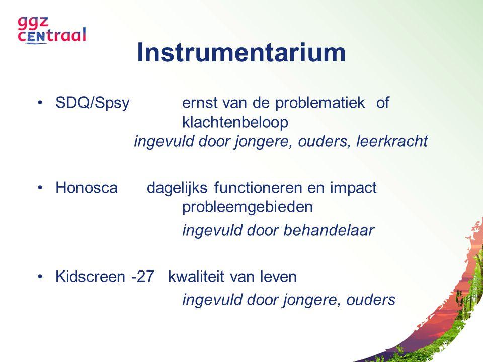 Instrumentarium SDQ/Spsy ernst van de problematiek of klachtenbeloop ingevuld door jongere, ouders, leerkracht Honosca dagelijks functioneren en impac