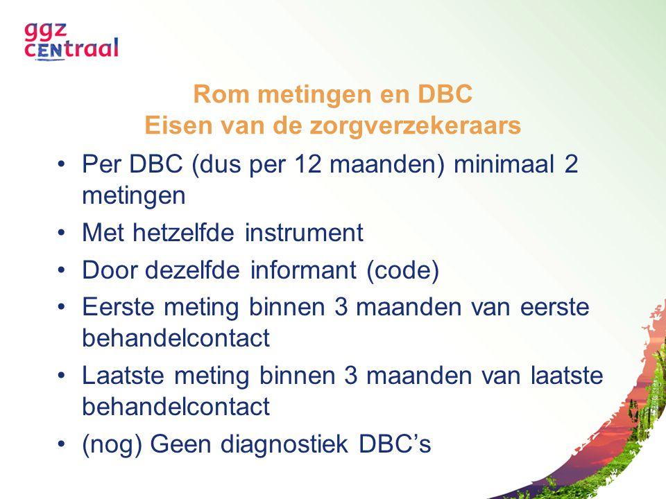 Rom metingen en DBC Eisen van de zorgverzekeraars Per DBC (dus per 12 maanden) minimaal 2 metingen Met hetzelfde instrument Door dezelfde informant (c