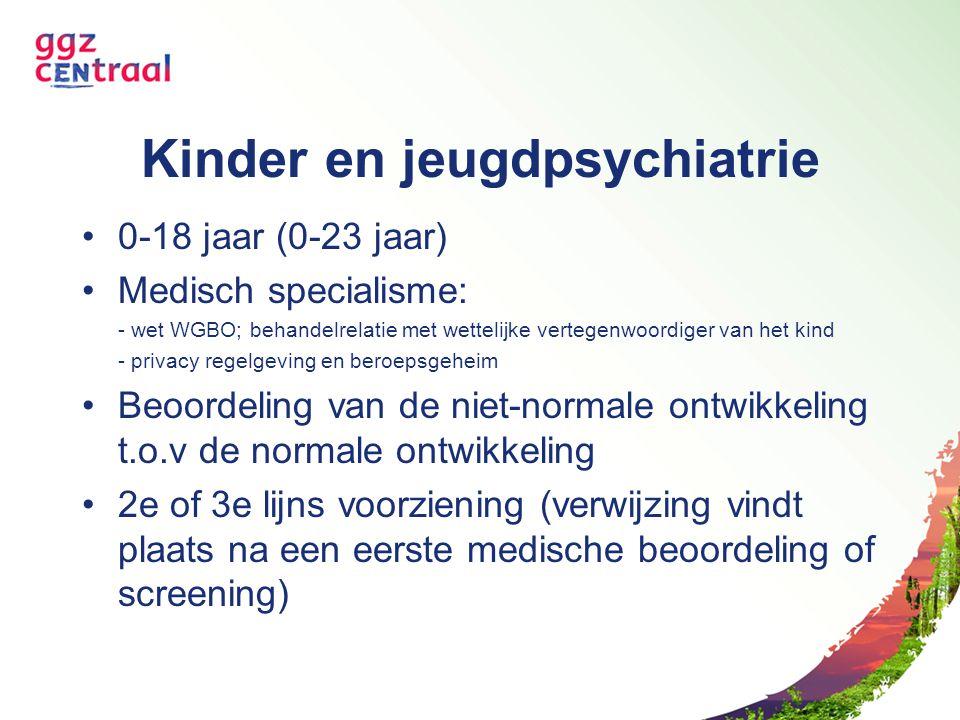 Kinder en jeugdpsychiatrie 0-18 jaar (0-23 jaar) Medisch specialisme: - wet WGBO; behandelrelatie met wettelijke vertegenwoordiger van het kind - priv