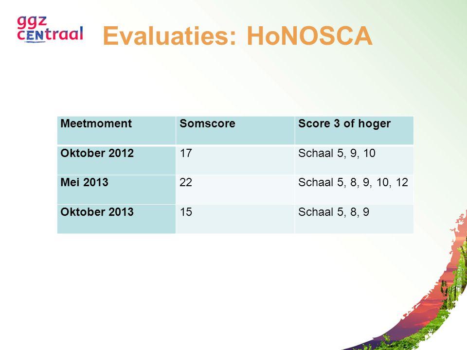 Evaluaties: HoNOSCA MeetmomentSomscoreScore 3 of hoger Oktober 201217Schaal 5, 9, 10 Mei 201322Schaal 5, 8, 9, 10, 12 Oktober 201315Schaal 5, 8, 9