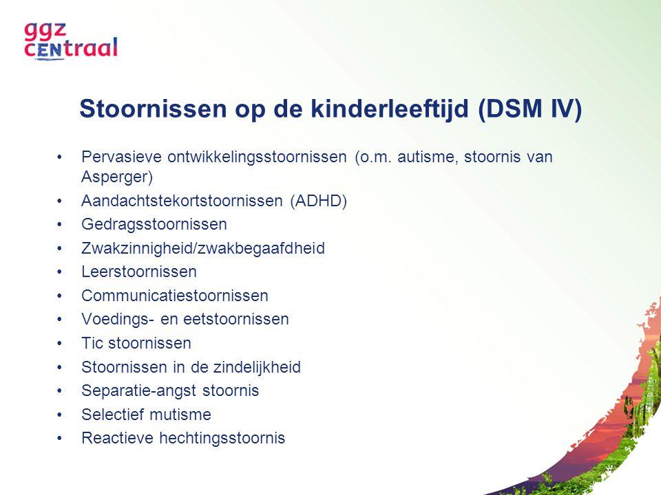 Stoornissen op de kinderleeftijd (DSM IV) Pervasieve ontwikkelingsstoornissen (o.m. autisme, stoornis van Asperger) Aandachtstekortstoornissen (ADHD)