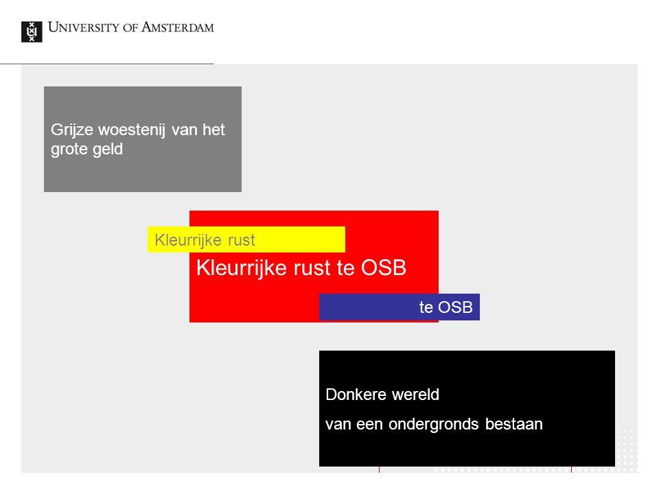 Grijze woestenij van het grote geld Donkere wereld van een ondergronds bestaan Kleurrijke rust te OSB Kleurrijke rust te OSB