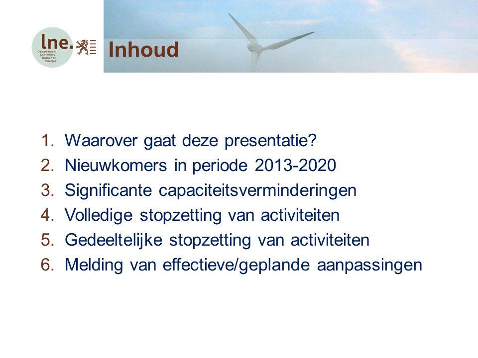 Inhoud 1.Waarover gaat deze presentatie? 2.Nieuwkomers in periode 2013-2020 3.Significante capaciteitsverminderingen 4.Volledige stopzetting van activ