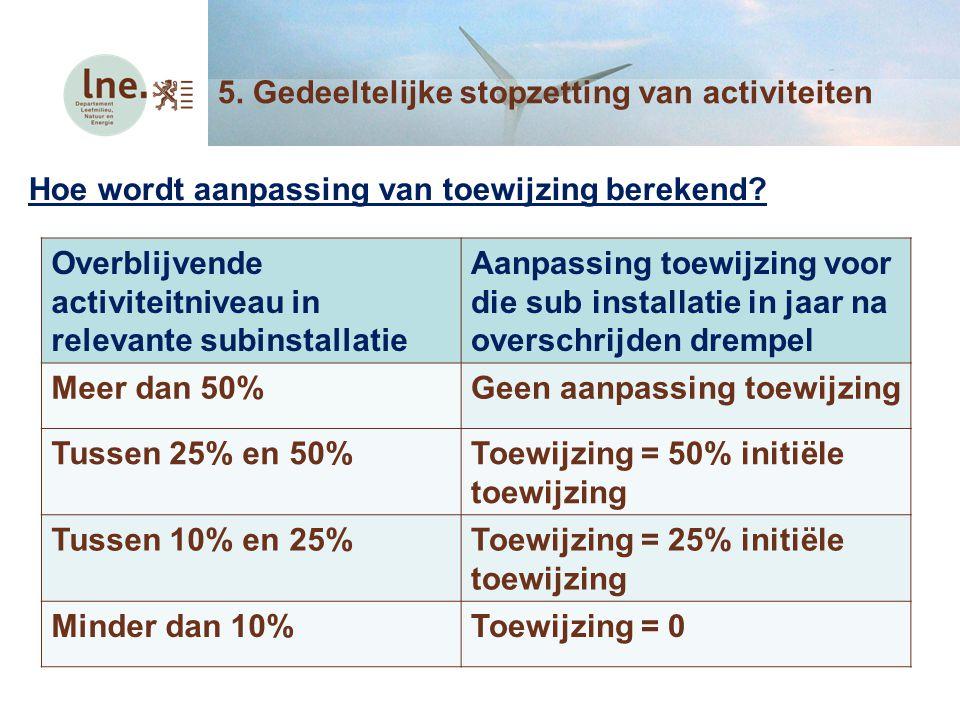 Hoe wordt aanpassing van toewijzing berekend? 5. Gedeeltelijke stopzetting van activiteiten Overblijvende activiteitniveau in relevante subinstallatie