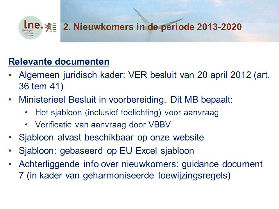 Procedure voor nieuwkomers Invullen van sjabloon door exploitant Verificatie van gegevens door VBBV Exploitant moet aanvraag indienen bij LNE (vanaf publicatie MB in Belgisch staatsblad) Deadline indienen aanvraag: 1 jaar na aanvang normale werking nieuwkomer Op basis van geverifieerde aanvraag: MB met voorlopige toewijzing LNE bezorgt dossier aan Europese Commissie Na feedback EC: MB met definitieve toewijzing 2.