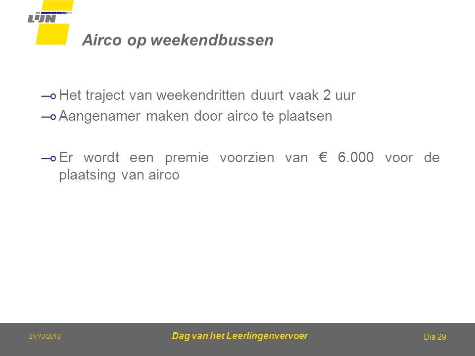 21/10/2013 Dag van het Leerlingenvervoer Airco op weekendbussen Dia 29 Het traject van weekendritten duurt vaak 2 uur Aangenamer maken door airco te p