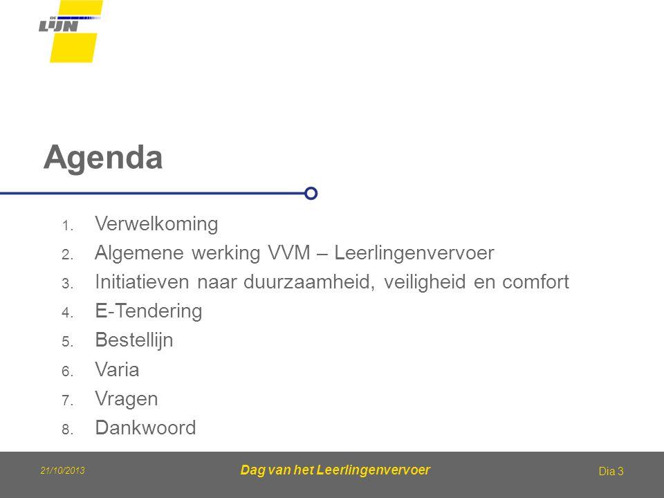 21/10/2013 Dag van het Leerlingenvervoer Agenda Dia 3 1. Verwelkoming 2. Algemene werking VVM – Leerlingenvervoer 3. Initiatieven naar duurzaamheid, v